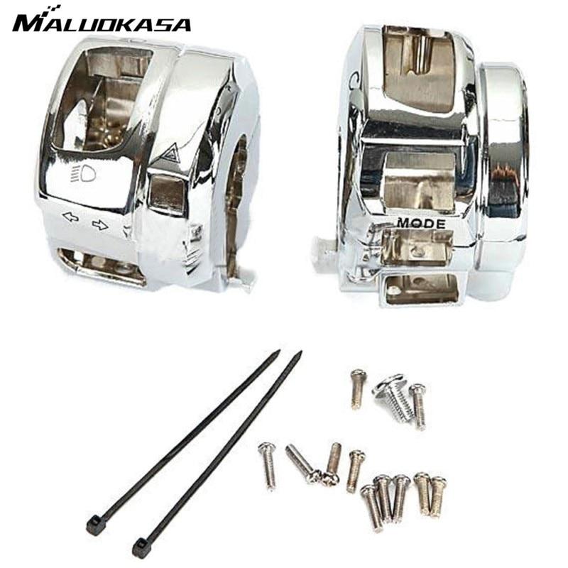 MALUOKASA Motorcycle Chrome Switch Housings Cover Cap Motor Case Kit For Suzuki GSX-1300R For Hayabusa 2008 2009 2010 2011 2012