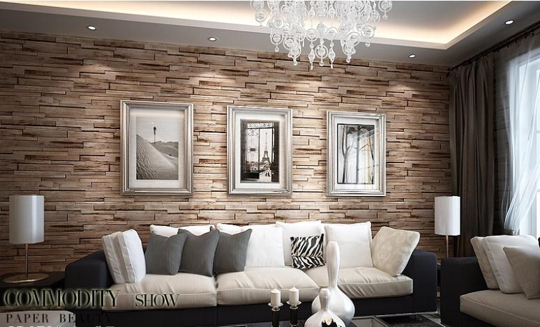 New 3D Luxury Wood Blocks Effect Brown Stone Brick 10M Vinyl Wallpaper Roll Living Room Background Wall Decor Art Paper In Wallpapers From Home