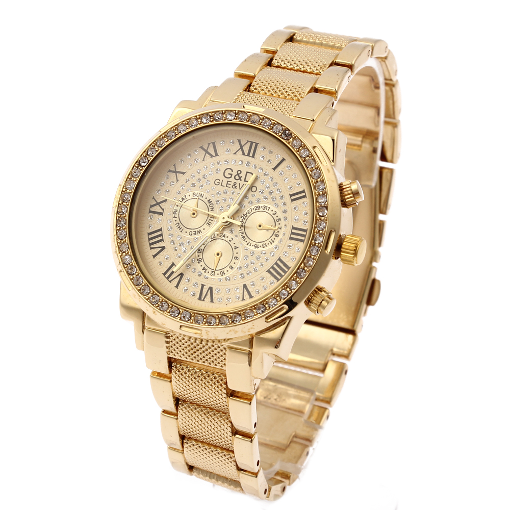 G & D Kvinnor Guld Rostfritt Stål Band Fashion Watch Kvinnors Rhinestone Triple Dial Quartz Analog Armbandsur