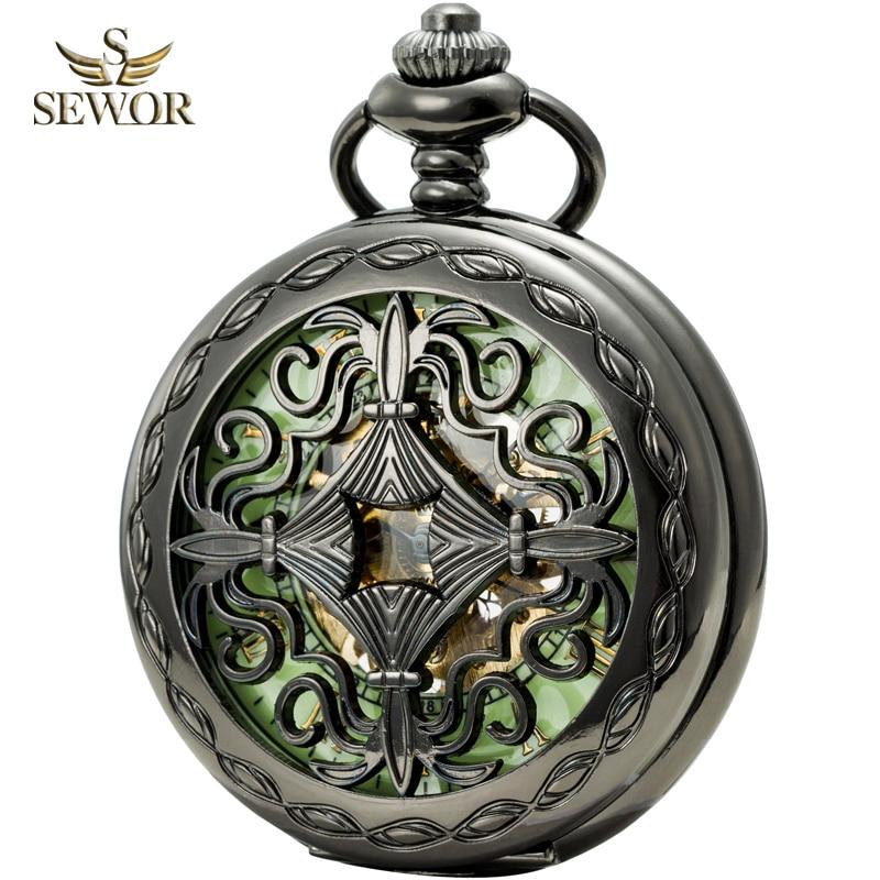 SEWOR Top Luxury Brand Mens Special Flower Pattern Pocket Watch Men Green Dial Luminous Mechanical Watch Relogio Masculino C202