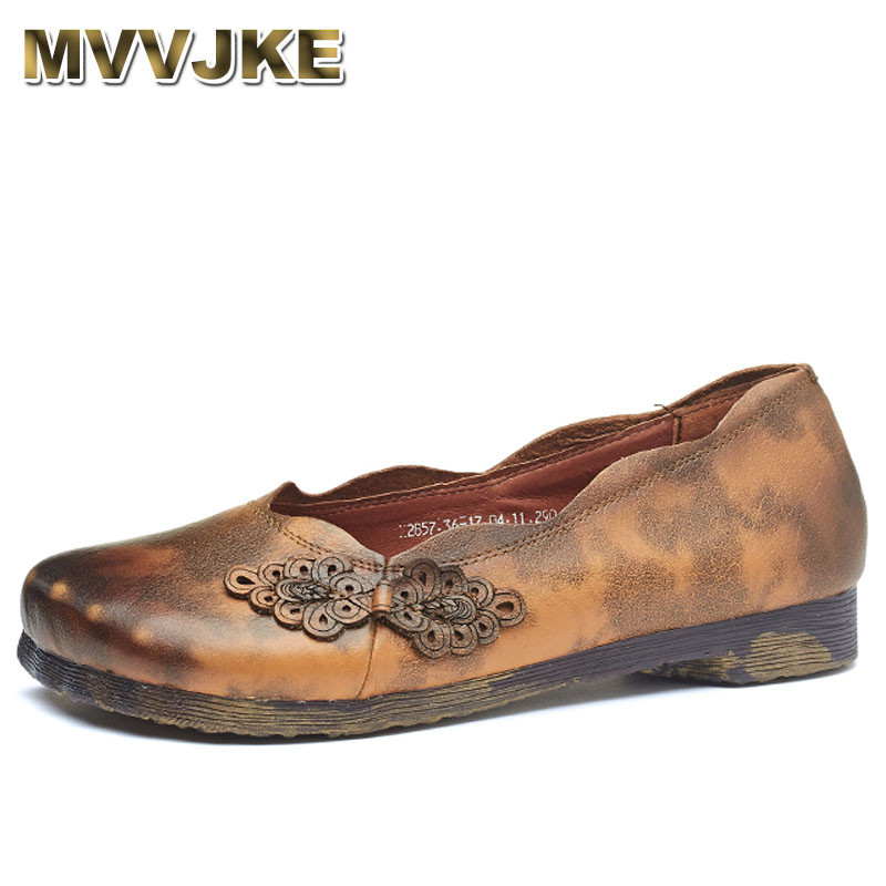 MVVJKE Retro Loafers Women Shoes Genuine Leather Shoes 2018 Spring Summer shallow women flats Handmade soft Casual Shoes Women leather shoes handmade shoes spring and summer new style soft genuine leather flats shoes shoes for pregnant women flats