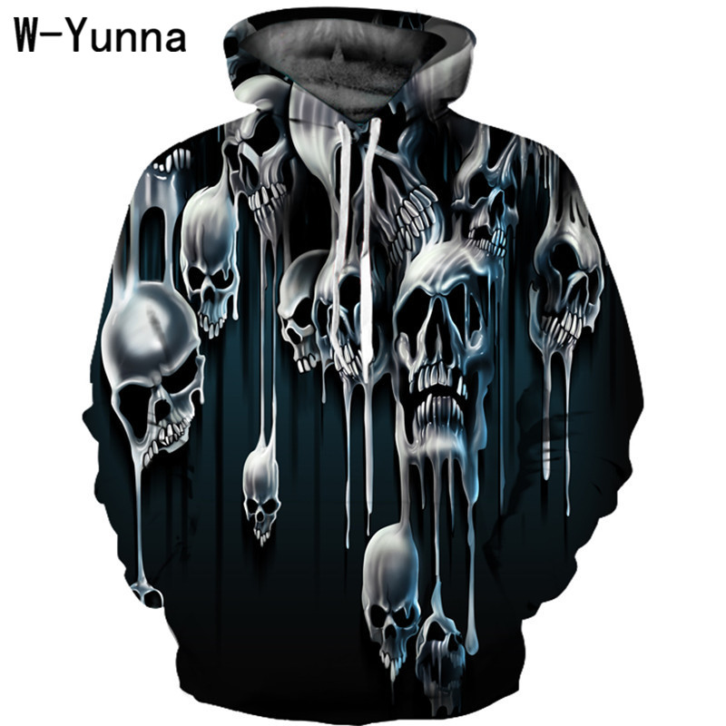 W-Yunna New Autumn Winter Coats Women 3D Print Loose Fashion Hoodies Women Skull Print Strange Thing Moletom Oversized Hoodie