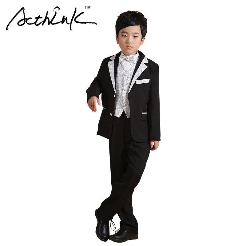 ActhInK õrnad poisid 6PCS kleit sobib vestele + bleiser + pant + särk + bowtie + vöö õie poisid pulmakleit lastele ametlik peolaud, MC160