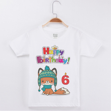 New Brand White Short Sleeve Tees Kids Clothes Birthday T-shirt Cartoon Fox Printing Cotton T Shirts Tops Boys Child Tshirt