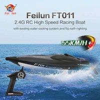 Скоростной катер р/у FT011 65 см 2,4 г 2CH 55 км/ч высокоскоростная гоночная лодка корабль скорость лодка с системой водяного охлаждения перевернут