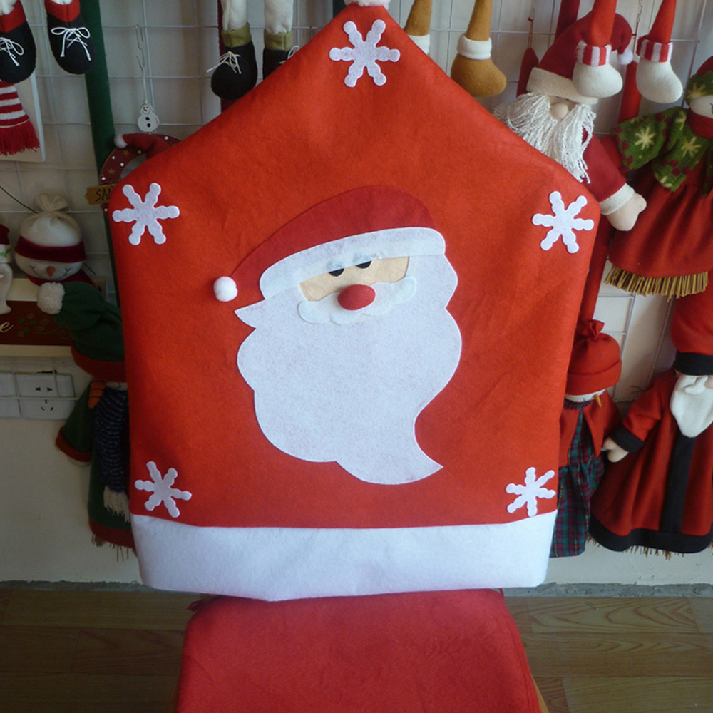 2017 Christmas Decoration Santa Snowman elk Chair Cap Covers hood Christmas Red Hat Home Party Dinner Table Decoration Supplies