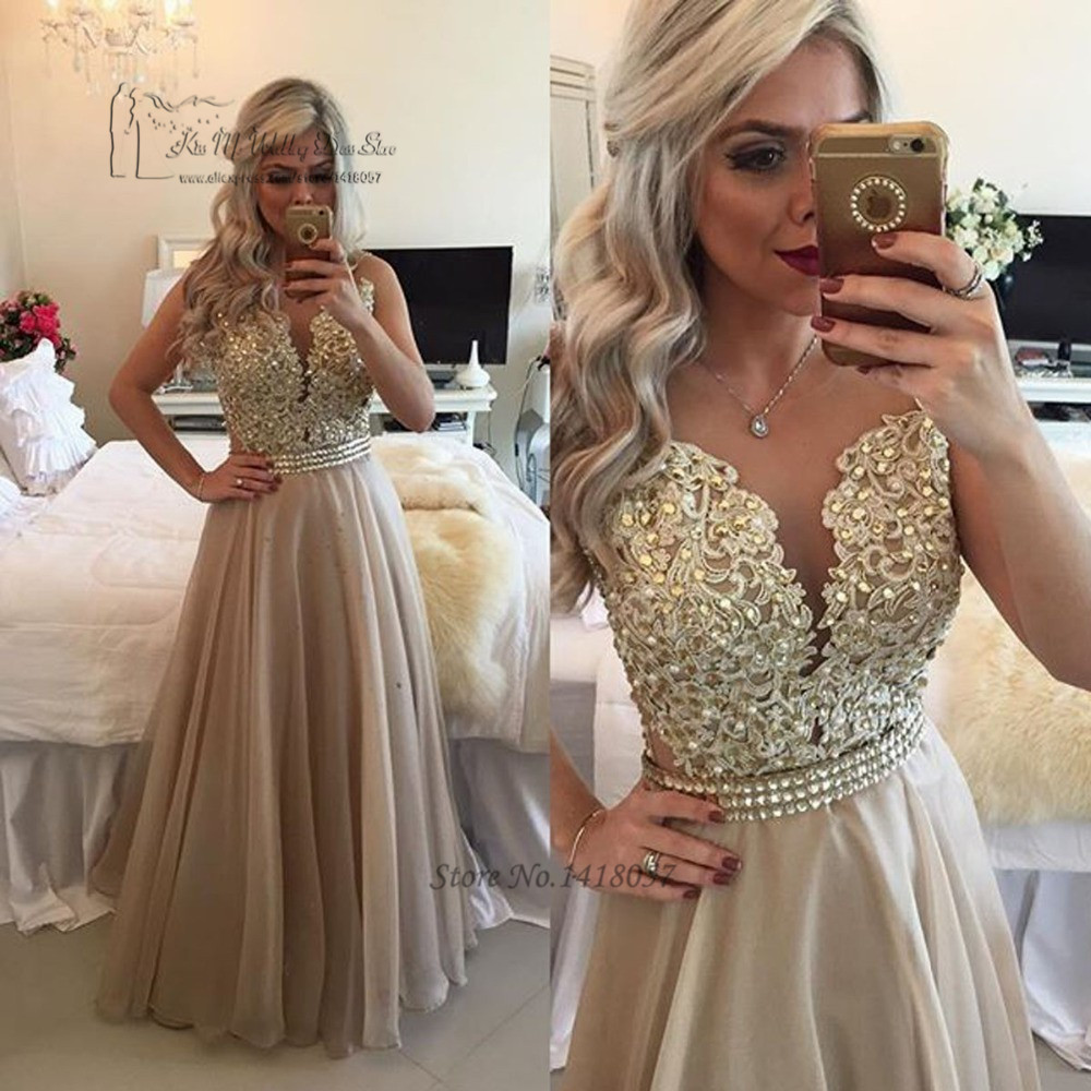 Vestido de Festa Longo Champagne Abendkleider 2016 Evening Dresses Long Lace Beads Formal Gowns Crystal Prom