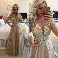 Vestido de Festa Longo Champagne Abendkleider 2016 Evening Dresses Long Lace Beads Formal Gowns Crystal Prom Dresses Noche