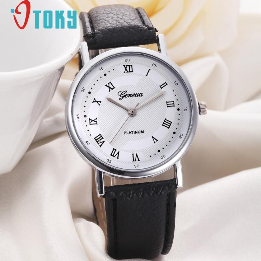 Luxury Fashion Faux Leather Watch Women Leisure Dial Quartz Watch Causal Women Business Wrist Watches relogio feminino