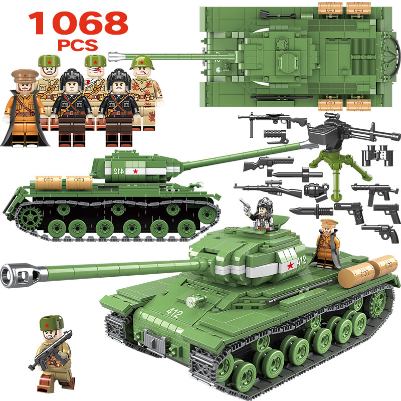 1068pcs Military IS-2M Heavy Tank Soldier Weapon Building Blocks Compatible LegoINGLY WW2 Tank Bricks Army 100062 Toys for Boys1068pcs Military IS-2M Heavy Tank Soldier Weapon Building Blocks Compatible LegoINGLY WW2 Tank Bricks Army 100062 Toys for Boys