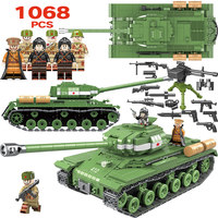 1068pcs Military IS 2M Heavy Tank Soldier Weapon Building Blocks Compatible LegoINGLY WW2 Tank Bricks Army 100062 Toys for Boys