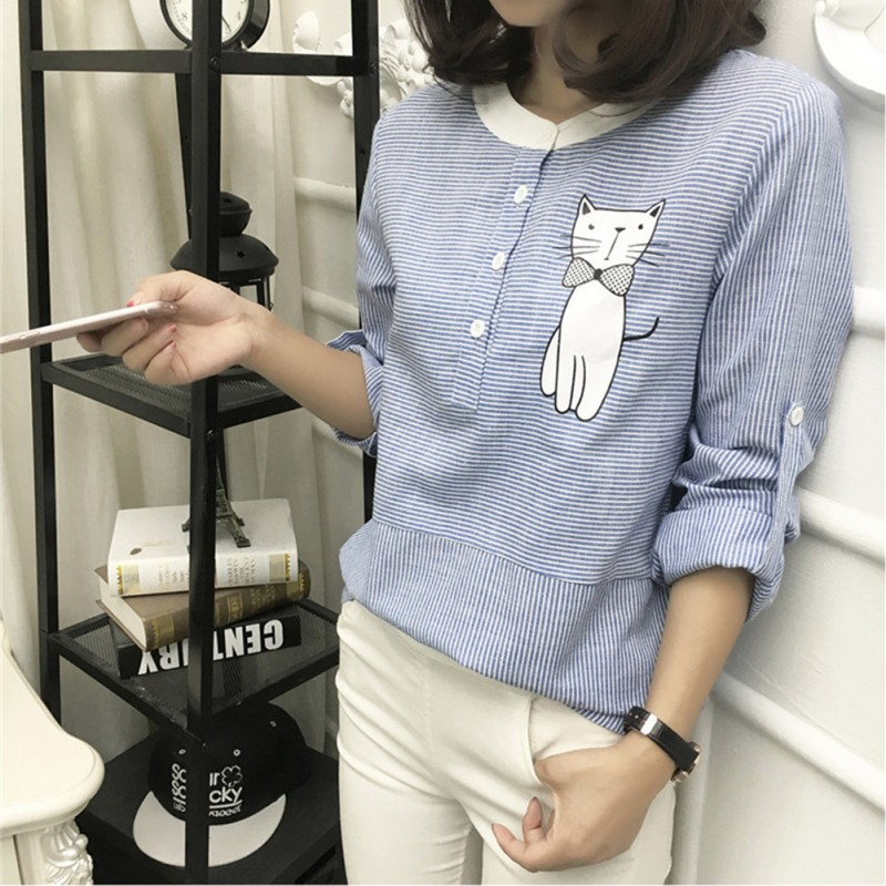 Women Summer Blouses Long Sleeve Cat Embroidery Blouse Shirt Casual Women Shirts Tops Plus Size