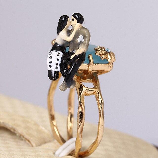 Size 8 diameter 1.8cm 2015 French jewelry lovers kiss enamel glaze gilt natural gem rings les nereides