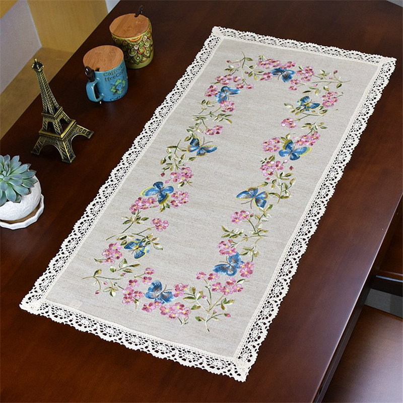 Free Shipping Natural Linen Flower Embroidery Tablecloth Cup Mat Table Cover Placemat For Wedding Living Decorate