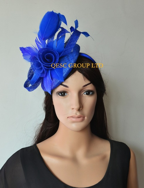3b11993b6c0a2 Wholesale NEW 8 colours Royal blue Feather Fascinator sinamay fascinator hat  for Melbourne Cup