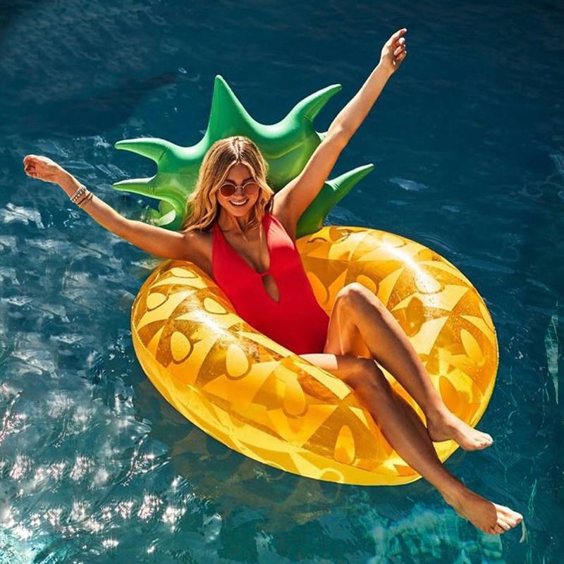 120 cm Géant Ananas Gonflable Anneau De Natation Pour Adultes Enfants Summer Party Piscine Float Tube D'eau Jouets Transat boia piscina