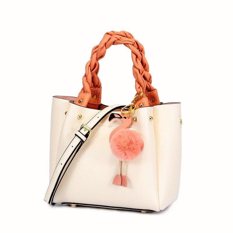 YUFANG 2019 nowych kobiet torebki torby kurierskie torebki z prawdziwej skóry Flamingo lalki uchwyt torby na ramię czarny kobiet torby w Torby z uchwytem od Bagaże i torby na  Grupa 1
