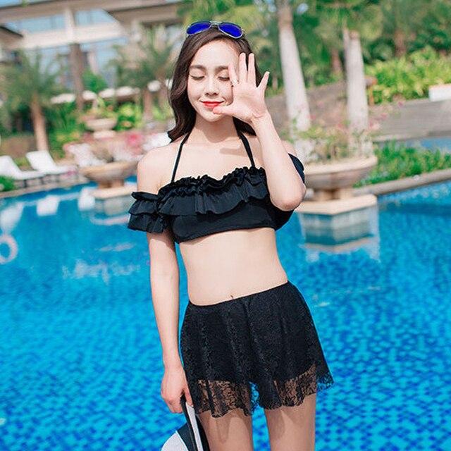 3eaef61105 new swimsuit schoolgirl sexy skirt small fresh triangle bikini set hot  bathing suit waist lace swimsuit