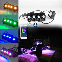 Multicolor 4podsRGB LED rock atmosphere lights RGB chassis lights a trailer four Bluetooth control 4pods RGB LED rock lights #D2