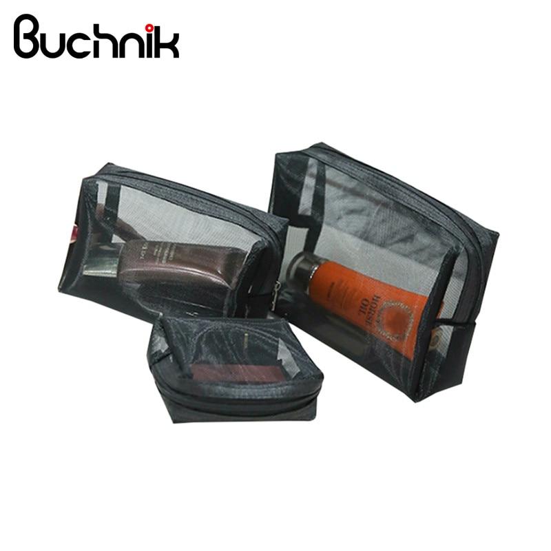 BUCHNIK 3Pcs/Set Black Net Cosmetic Bag Fashion Women Travel Transparent Toiletry Wash Organizer Case Portable Makeup Pouch