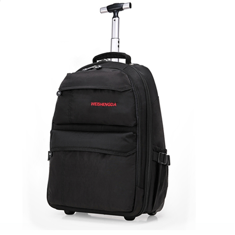Single rod travel bags on fixed caster for men and women,19,21computer travel luggage,multi use backpack with trolley wheels