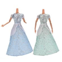 Kids Best Gifts Light Blue/Green Princess Wedding Gown Dress Or Crystal shoes For Barbies Dolls Accessorises Random Color(China)