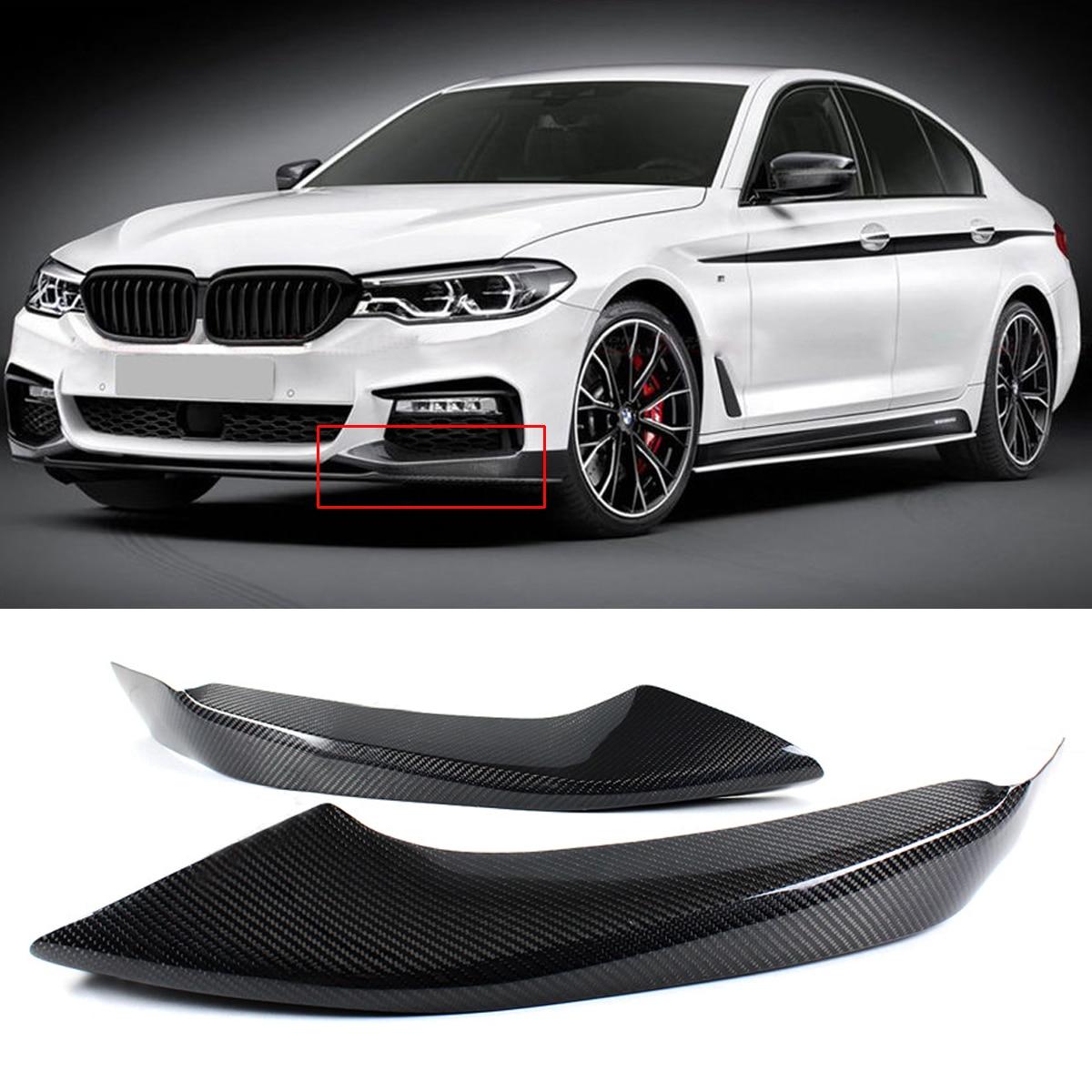 1Pair Carbon Fiber M Sport Front Bumper Side Splitters Diffuser Bumper Canard Lip Body Shovels for BMW 2017-2018 G30 540i M550i