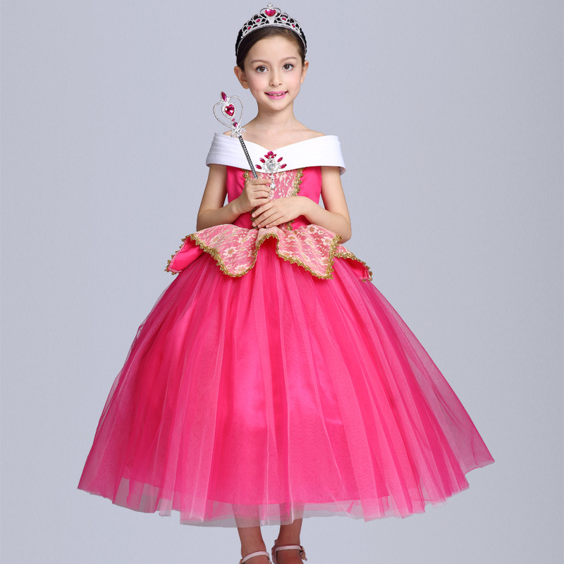 Kids Girls Sleeping Beauty Costumes Carnival Halloween Princess Aurora Dress Fairy Fancy Dress Up Role-play Outfits