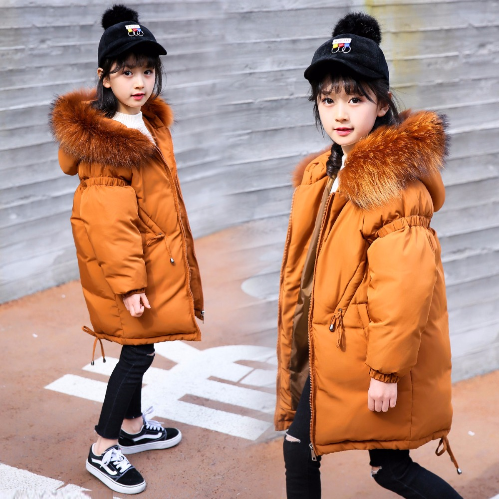 HSSCZL girls down jackets 2018 brand winter thick girls down coats hooded natural fur collar children outerwear overcoat 5-14A 2017 girls down jacket winter long jackets children outerwear coats fashion big collar solid pockets thick warm overcoat 120 150