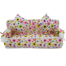 1 Pcs Mini Sofa Play Toy Flower Print Baby Toy Plush Stuffed Furniture Sofa With 2x Cushions For Barbie Doll Couch Doll House(China)