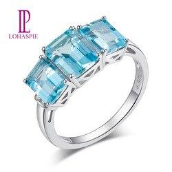Pierścionek zaręczynowy LP Solid 9K 10K 14K 18K białe złoto 3.27Ct naturalny kamień szlachetny akwamaryn z diamentem Fine Fashion biżuteria z kamienia