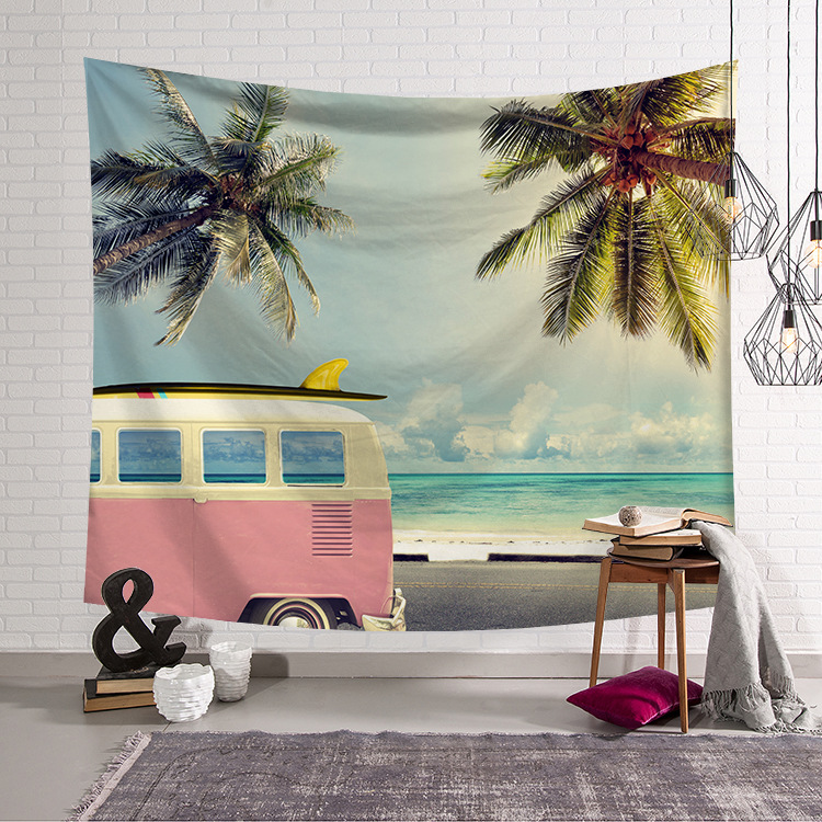 Seaside Scenery Beach Wall Tapestry Home Decorations Wall Hanging Tapestries For Living Room Bedroom tapisserie murale Yoga mat image