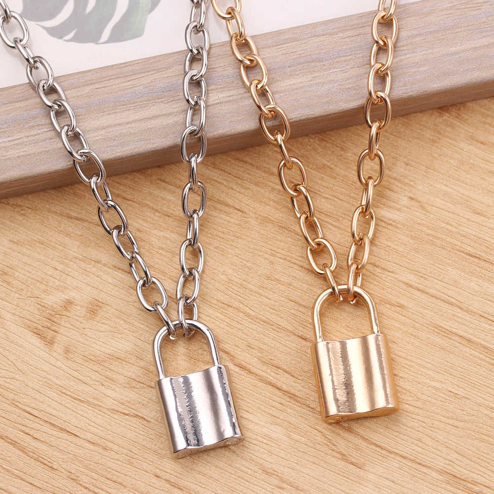 Qevila New Fashion Necklaces Jewelry PadLock Chain Necklace