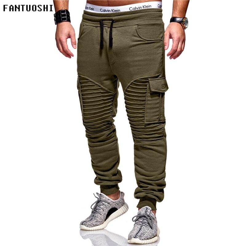 2018 Brand Men Pants Harem Joggers Pants 2018 Male Trousers Mens Pleated Elastic Cotton Solid Zipper Decoration Pants Sweatpant