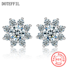 DOTEFFIL Female Snowflake Stud Earring 100% Real 925 Sterling Silver Jewelry High Quality AAA Zircon Double Earrings For Women new fashion high quality super shiny zircon 925 sterling silver stud earring for women jewelry wholesale gift oorbellen