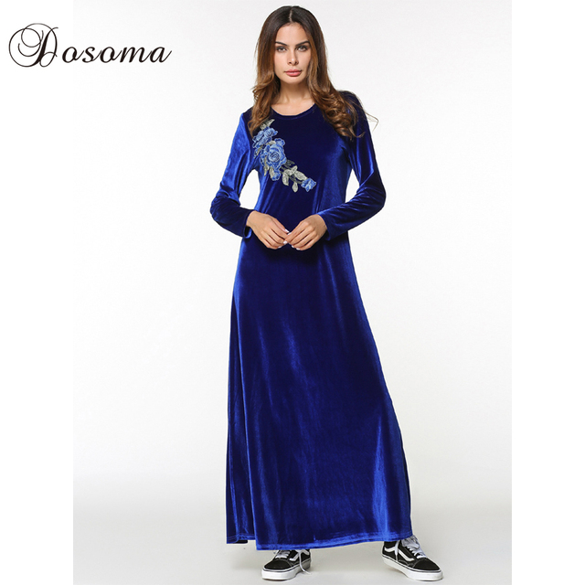 5d8a5a6c255b4 US $26.5 |Casual Maxi Dress Abaya Velvet Embroidery Flower Long Sleeve Robe  Gowns Middle East Loose Style Muslim Moroccan Islamic Clothing-in Islamic  ...