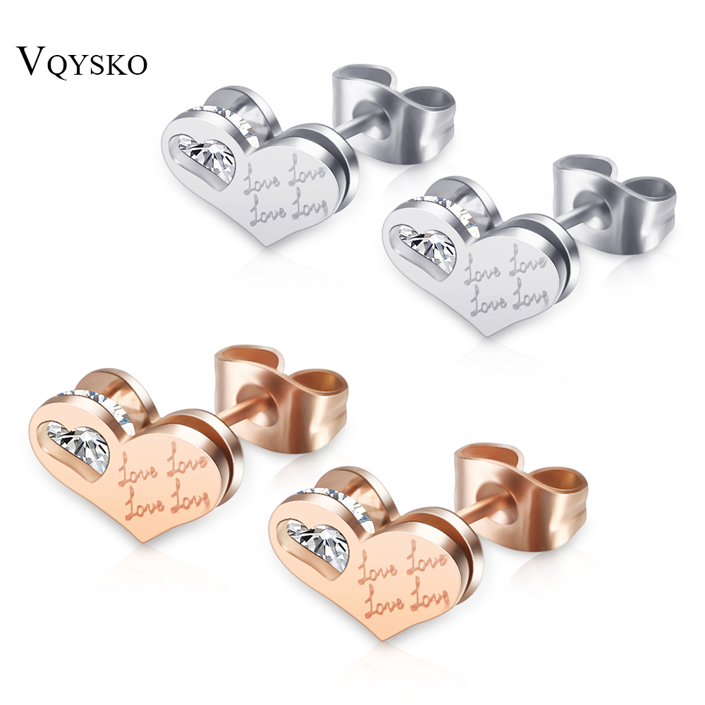 Desain jantung Stainless Steel Stud Earrings Hot Sale Perempuan Kristal Rose Gold Stud Earrings Fashion