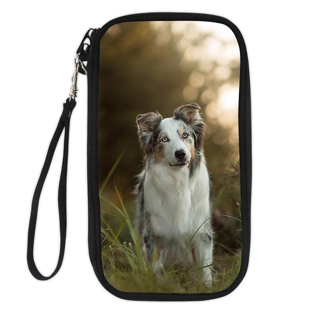3D Famous Australian Shepherd Dog Lover Passport Business Bank Cards Case ID Women Card Holder Zipper Bags Card Holder Wallet