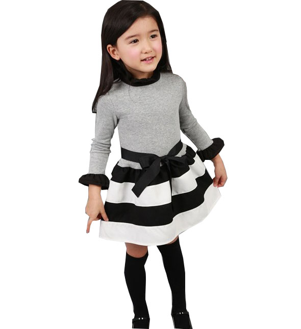 Spring and Autumn girls fashion striped mini - dress school wind cotton long - sleeved dress kids clothes 2 3 4 5 6 7 years old