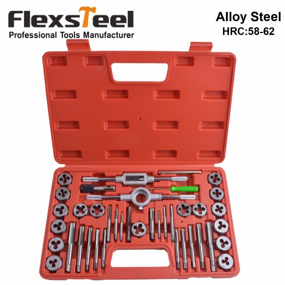 Flexsteel 40 pz Lega di Acciaio 58-62HRC Toccare e Die Set, 9/20/40 pz Metrico Tap Chiave Filo Strumenti di Muore Supporto per Uso Professionale