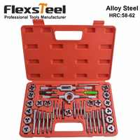 Flexsteel 40PCS Alloy Steel 58-62HRC Tap and Die Set,9/20/40Pcs Metric Tap Wrench Thread Tools Dies Holder for Professional Use
