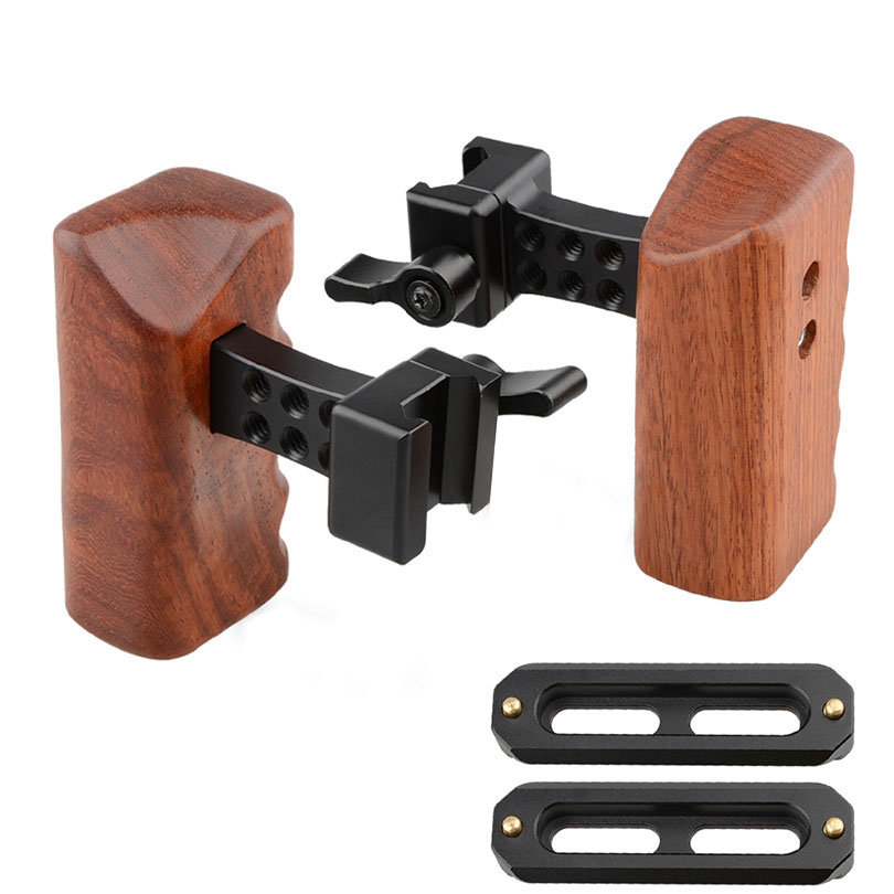 CAMVATE Wooden Camera Handle DSLR Handgrip Fr DV Video Cage Rig (right & left hand) Swat Rail Clamp Safety Rail 70mm C1541 camvate dslr handle camera grip wooden handgrip right hand for arri alexa extender arm shoulder support system c1321