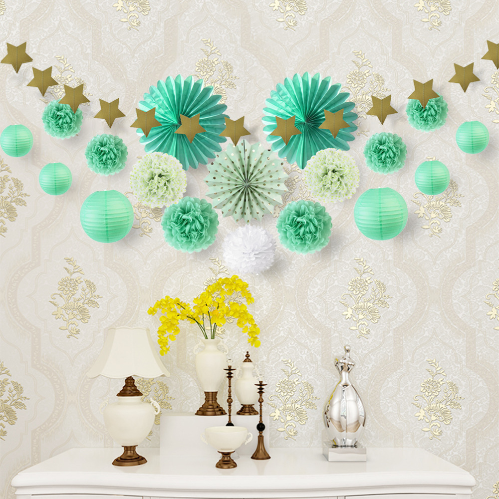 8 Colors Hanging Party Decoration 20pcs Paper Fans Lanterns Star Garland Event Birthday Party Wedding Baby Shower Decorations in Party DIY Decorations from Home Garden