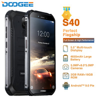 DOOGEE S40 IP68 IP69K 5.5inch Display 4650mAh Mobile Phone MT6739 Quad Core 2GB RAM 16GB ROM Android 9.1 8.0MP Camera 4G Phone