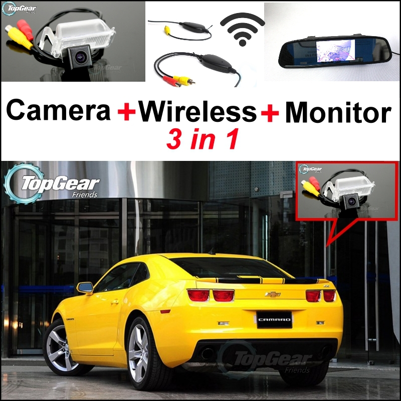 3 in1 Special WiFi Rear View Camera + Wireless Receiver + Mirror Monitor Easy Parking System For Chevrolet Camaro SS 2010~2015 цена