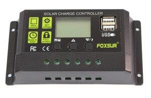 Image 2 - FOXSUR Năng Lượng Mặt Trời Charge Controller 12 V 24 V Auto LCD Hiển Thị với kép USB 5 V Đầu Ra 30A 20A 10A PWM Solar Charger điều chỉnh