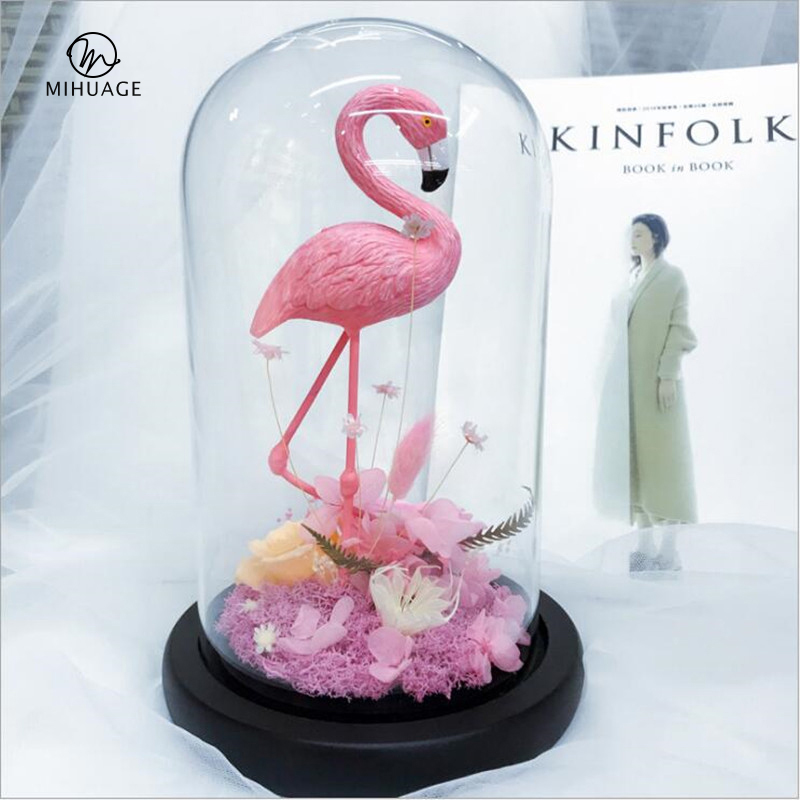 MiHuaGe Flamingo fleur éternelle rose conservation Image vive fleur éternelle romantique saint valentin cadeau fête décor 12x21 cm