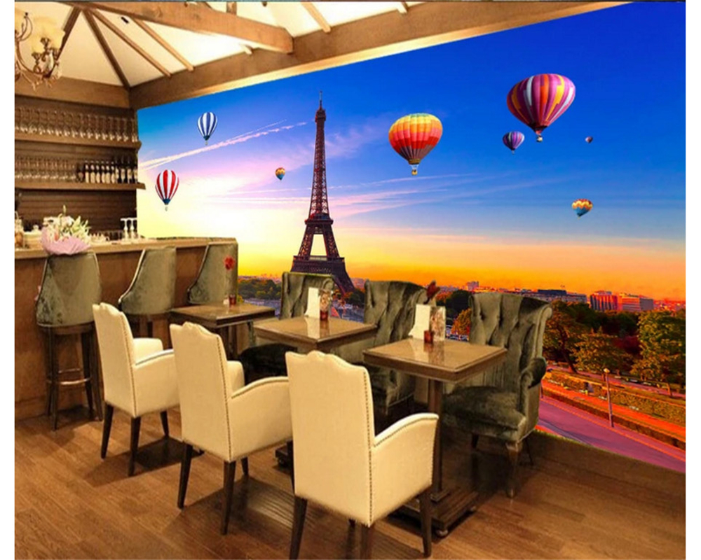 beibehang 3D decorative painting wallpaper ultra clear Paris Eiffel Tower colorful hot air balloon background papel de parede in Wallpapers from Home Improvement