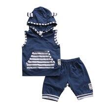 2 шт. летние для маленьких мальчиков футболка без рукавов жилет+ Брюки для девочек наряд с капюшоном для малышей комплект одежды для маленьких мальчиков