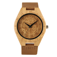 Stylish Natural Handmade Wooden Wristwatch for Men Women Caved Chinese Traditional Dragon Auspicious Cloud Tattoo Quartz Watches